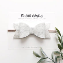 Heather White Sadie Bow on Headband or Clip