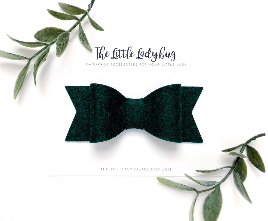 Hunter Green Sadie Bow on Headband or Clip