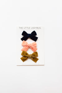 Set of Three Hand-Tied Velvet Bows in Navy Blue, French Peach, and Vintage Gold