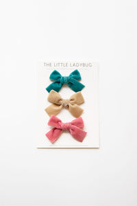 Set of Three Hand-Tied Velvet Bows in Teal Blue, Tan, and Rose Pink