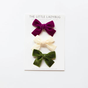 Set of Three Hand-Tied Velvet Bows in Berry Purple, Ivory, and Moss Green