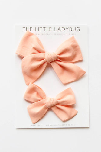 Peach Hand-Tied Fabric Bow
