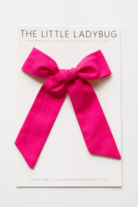Hot Pink Hand-Tied Fabric Lily Bow