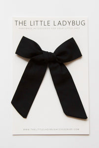 Black Hand-Tied Fabric Lily Bow