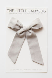 Light Gray Hand-Tied Fabric Lily Bow