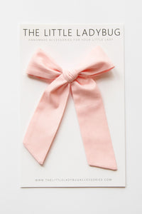 Light Pink Hand-Tied Fabric Lily Bow