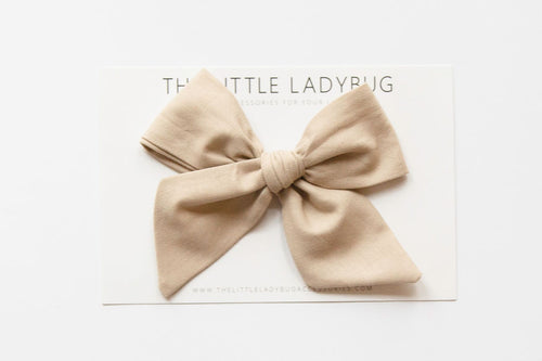 Tan Hand-Tied Fabric Bow