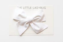 White Hand-Tied Fabric Bow