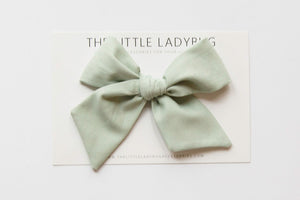 Seafoam Green Hand-Tied Fabric Bow