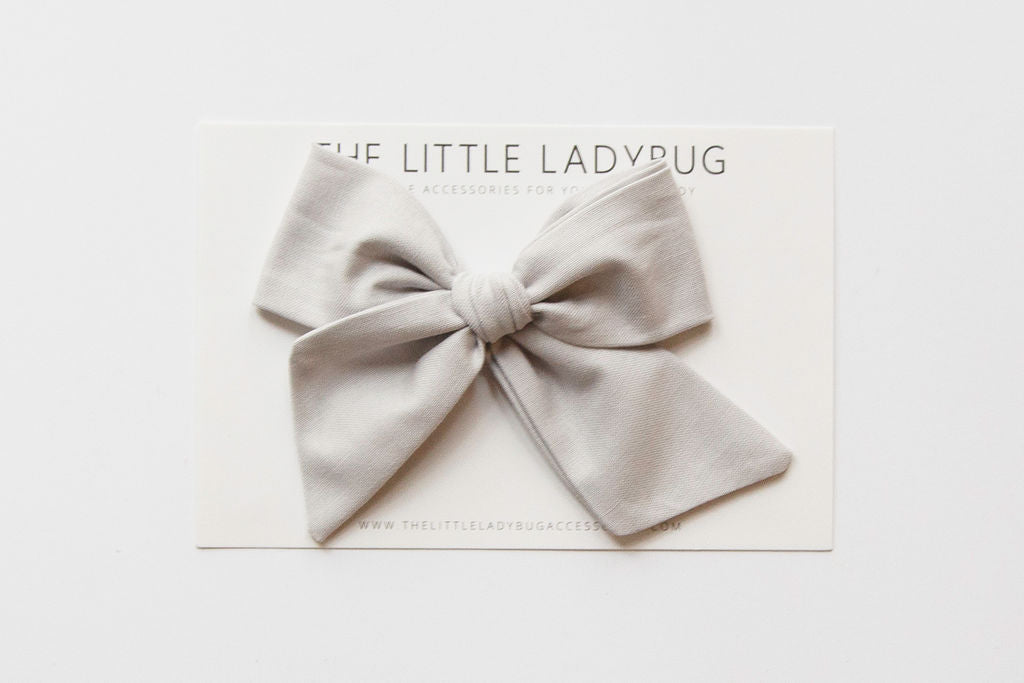 Light Gray Hand-Tied Fabric Bow