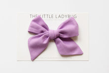 Set of Three Hand-Tied Fabric Bows in Seafoam Green, Light Gray, and Lilac Purple