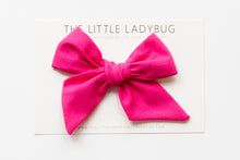 Hot Pink Hand-Tied Fabric Bow