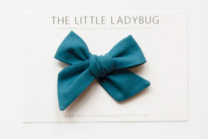 Peacock Blue Hand-Tied Fabric Bow