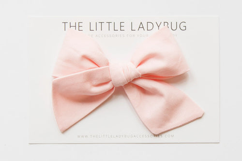 Light Pink Hand-Tied Fabric Bow