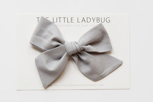 Dark Gray Hand-Tied Fabric Bow