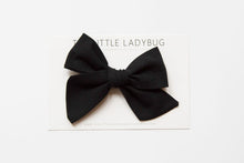 Black Hand-Tied Fabric Bow