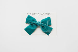 Teal Blue Hand-Tied Velvet Bow