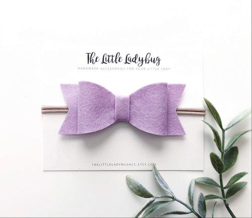 Lilac Sadie Bow on Headband or Clip