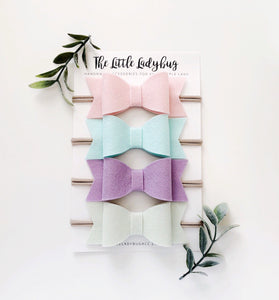 Lullaby Sadie Bow Set on Headband or Clip | Four Wool Felt Hair Bows in Blush, Arctic Mint, Honeydew, Lilac
