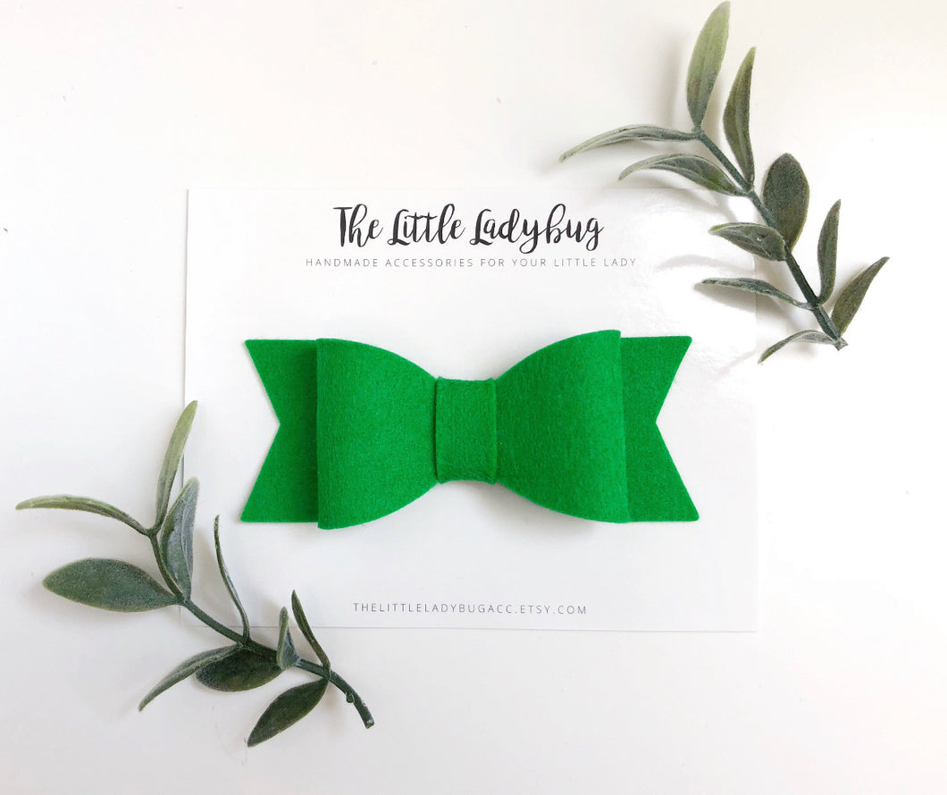 Clover Green Sadie Bow on Headband or Clip