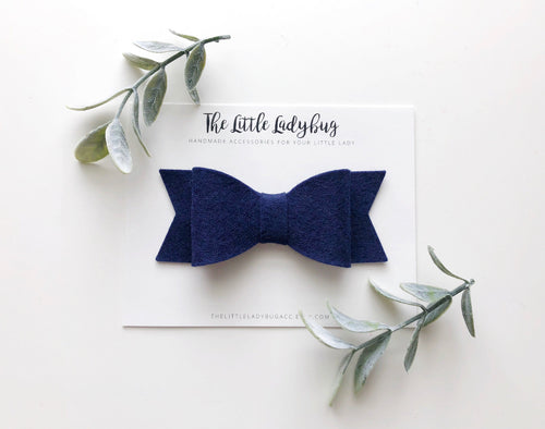 Navy Blue Sadie Bow on Headband or Clip