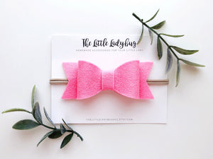 Bed of Roses Sadie Bow Set on Headband or Clip | Four Wool Felt Hair Bows in Bright Red, Carnation Pink, Neon Pink, Peach Blossom