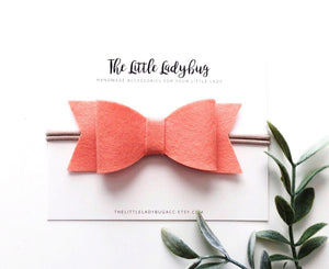 Sunrise Sadie Bow Set | Four Wool Felt Hair Bows in Barely Yellow, Coral Pink, Papaya, Strawberry
