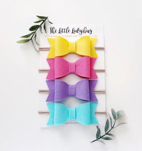 Popsicle Sadie Bow Set | Four Wool Felt Hair Bows in Violet, Celeste, Almost Rose, Buttercup