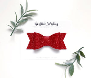 Holiday Glitter Sadie Bow Set | Three Glitter Hair Bows in Red, Green, and White