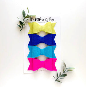 Sidewalk Chalk Sadie Bow Set | Four Wool Felt Bows - Chartreuse, Royal Blue, Sky Blue, Shocking Pink