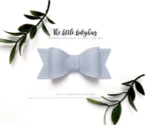 Silver Sadie Bow on Headband or Clip