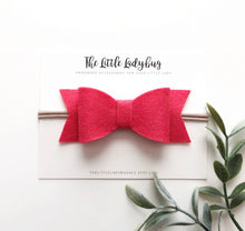 Sunrise Sadie Bow Set on Headband or Clip | Four Wool Felt Hair Bows in Barely Yellow, Coral Pink, Papaya, Strawberry