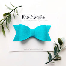 Pool Party Sadie Bow Set | Four Wool Felt Hair Bows in Turquoise, Tangelo, Hot Pink, Goldenrod