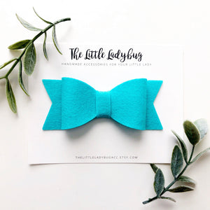 Pool Party Sadie Bow Set on Headband or Clip | Four Wool Felt Hair Bows in Turquoise, Tangelo, Hot Pink, Goldenrod