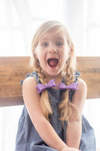 Popsicle Sadie Bow Set on Headband or Clip | Four Wool Felt Hair Bows in Violet, Celeste, Almost Rose, Buttercup