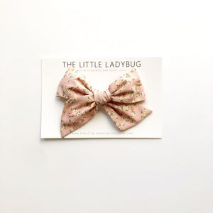 Set of Three Hand-Tied Fabric Bows in French Rose Floral, Spanish Yellow Floral and Stone Blue Linen