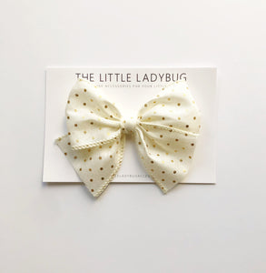Woven Ivory with Gold Dots Hand-Tied Ribbon Bow