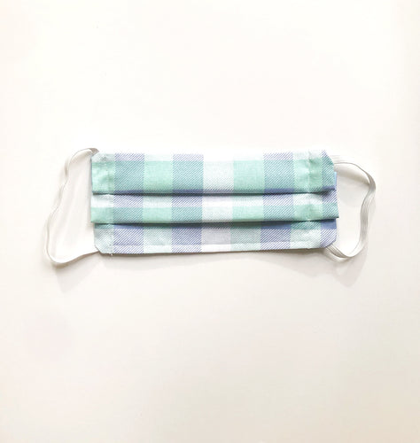 Child's Fabric Face Mask in Blue, Light Teal and White Plaid