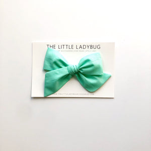 Paradise Blue Hand-Tied Fabric Bow