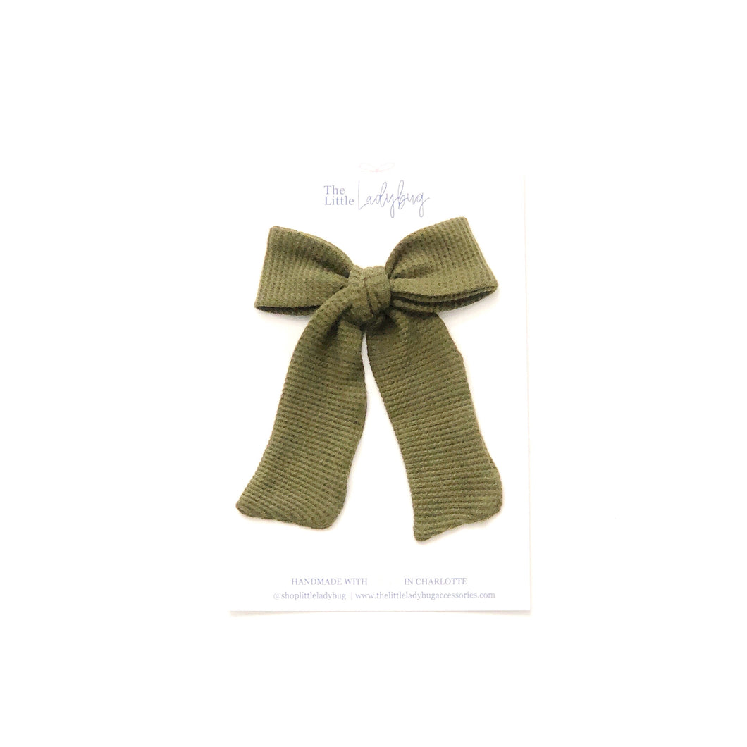 Waffle Olive Green Hand-Tied Fabric Lily Bow