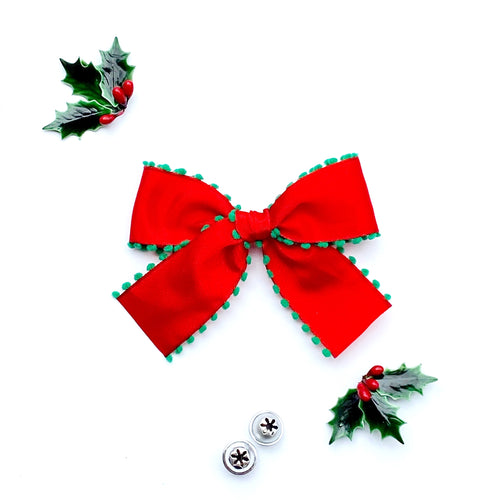 Red with Green Pom-Pom Hand-Tied Ribbon Bow