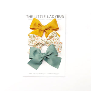Set of Three Hand-Tied Ribbon Bows in Mustard, Light Tan with Peach Flowers and Sage Green