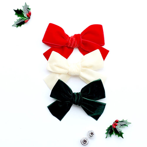 Set of Three Hand-Tied Velvet Bows in Red, Ivory and Dark Green