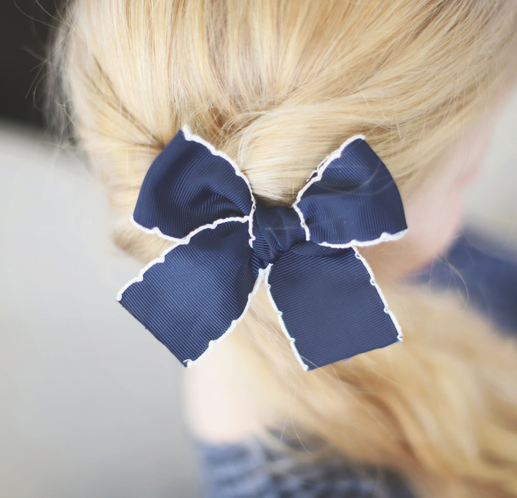 Navy Blue Scallop Hand-Tied Ribbon Bow