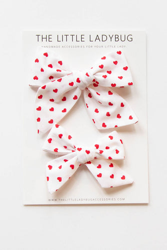 Red Hearts Hand-Tied Fabric Bow