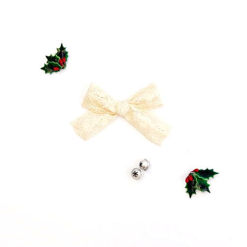 Ivory Crochet Cotton Hand-Tied Bow