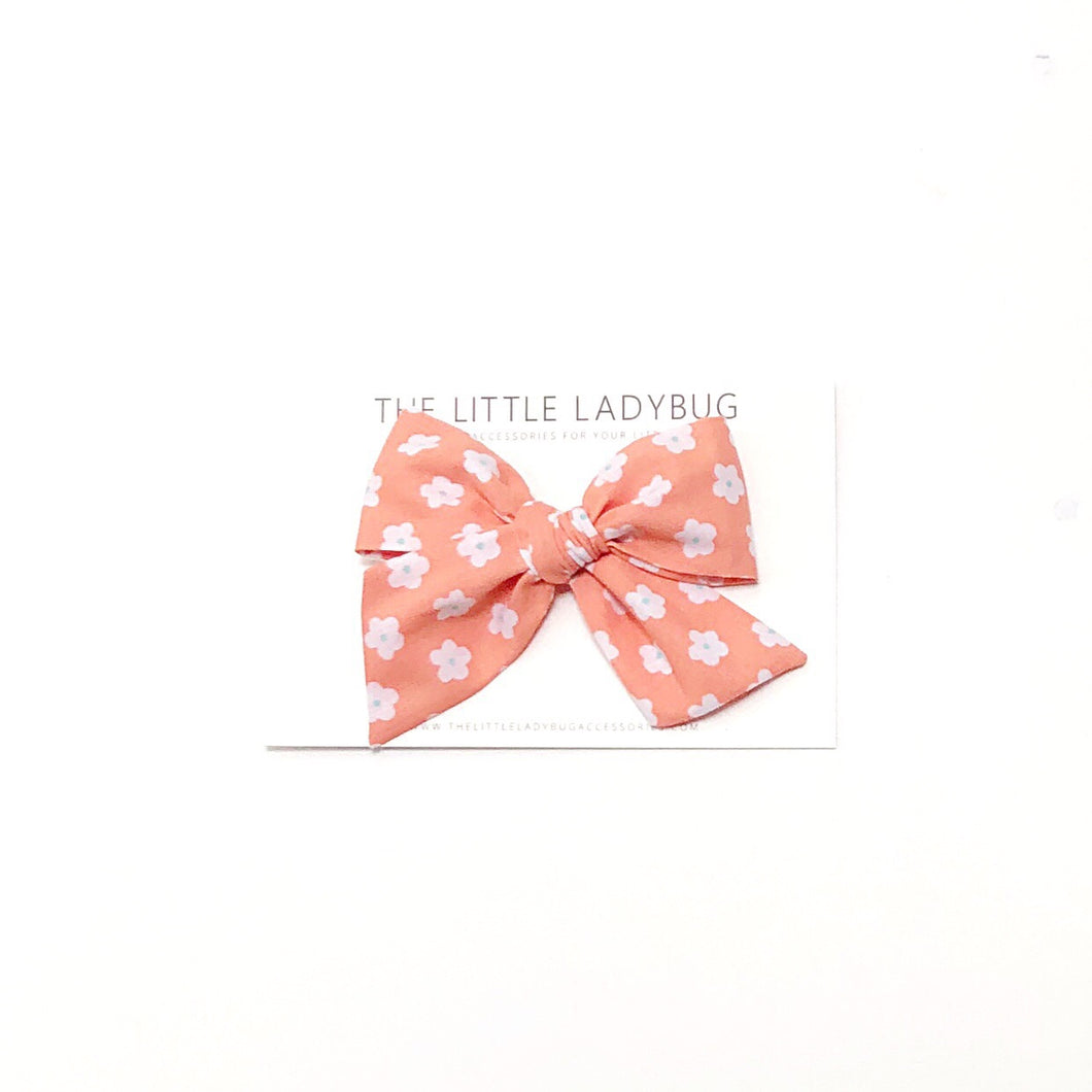 Apricot with White Flowers Hand-Tied Fabric Bow