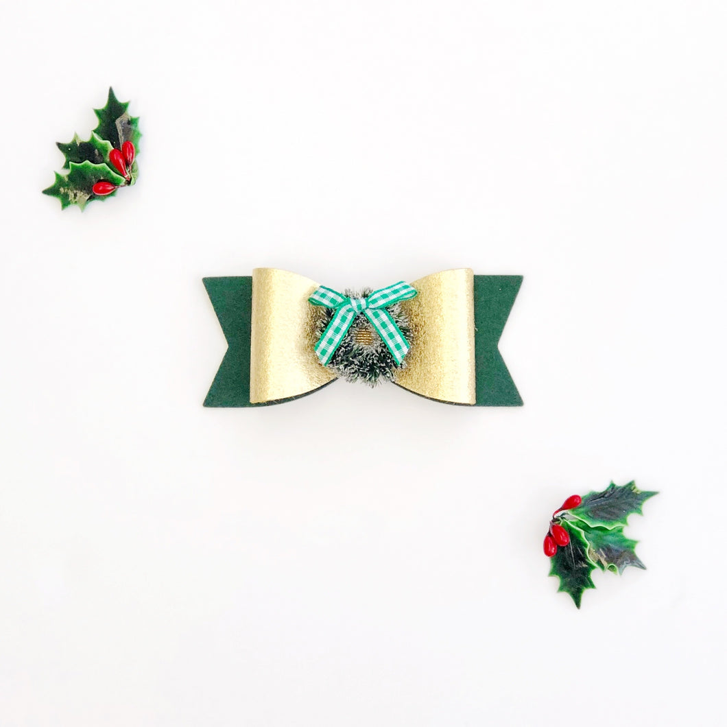 Wreath Wool Felt Embellished Luxe Bow