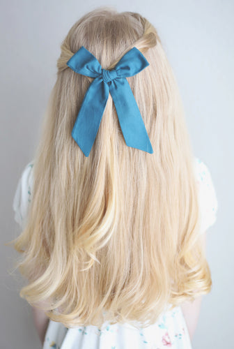 Peacock Blue Hand-Tied Fabric Lily Bow