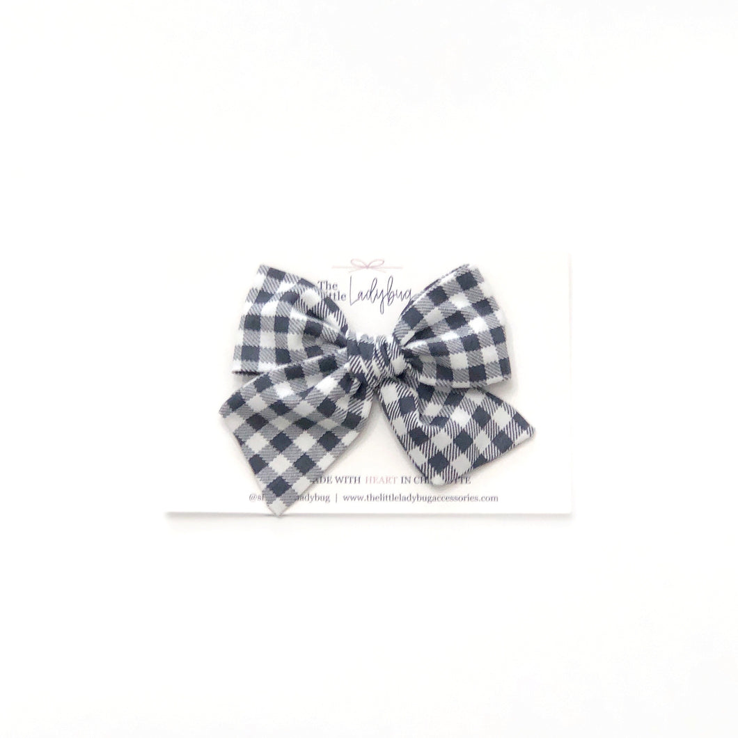 Smoke Gray Check Hand-Tied Fabric Bow